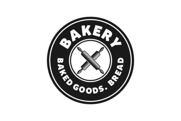 Download Free Crossed Rolling Pin Vintage Bakery Logo Designs Inspiration for Cricut Explore, Silhouette and other cutting machines.