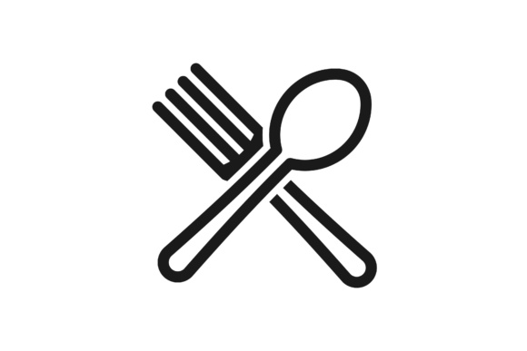 crossed spoon and fork logo graphic by yahyaanasatokillah