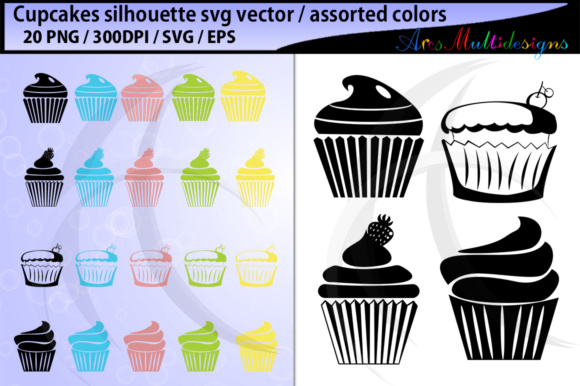 Download Free Cupcake Silhouette Cupcake Vector Cupcake Clipart Graphic By for Cricut Explore, Silhouette and other cutting machines.