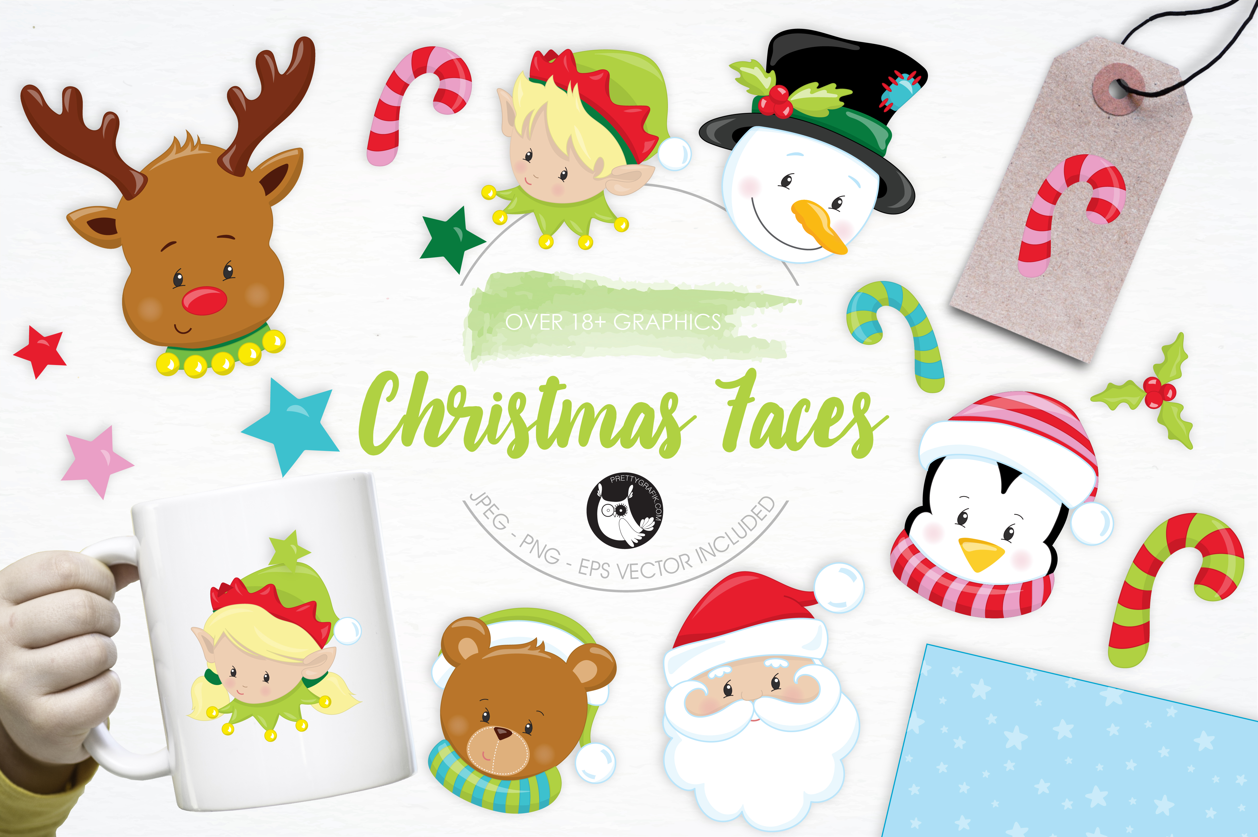 Download Free Cute Christmas Faces Graphic By Prettygrafik Creative Fabrica for Cricut Explore, Silhouette and other cutting machines.