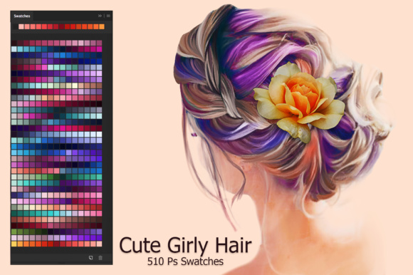 Download Free Cute Girly Hair Ps Swatches Grafico Por Faerydesign Creative for Cricut Explore, Silhouette and other cutting machines.