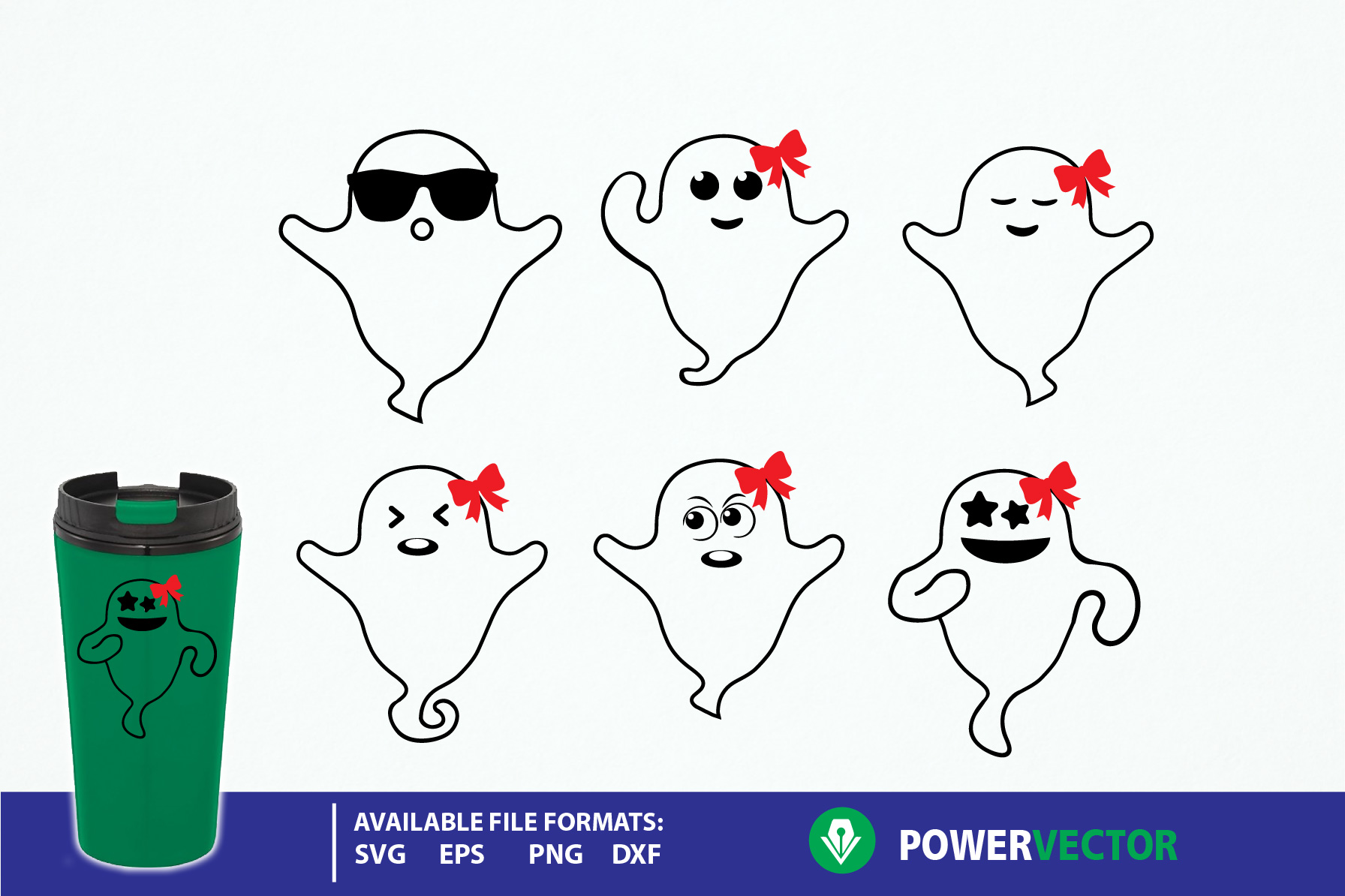 Download Free Cute Halloween Ghost Vector Clip Art Set Graphic By Powervector for Cricut Explore, Silhouette and other cutting machines.