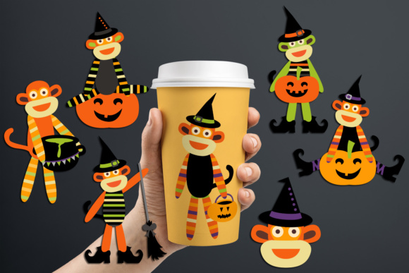Print on Demand: Cute Halloween Party Sock Monkeys Graphic Illustrations By Revidevi