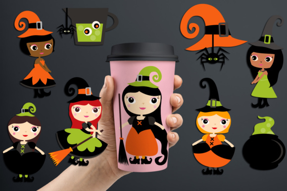 Print on Demand: Cute Halloween Witch, Girls Witchcraft Graphic Illustrations By Revidevi
