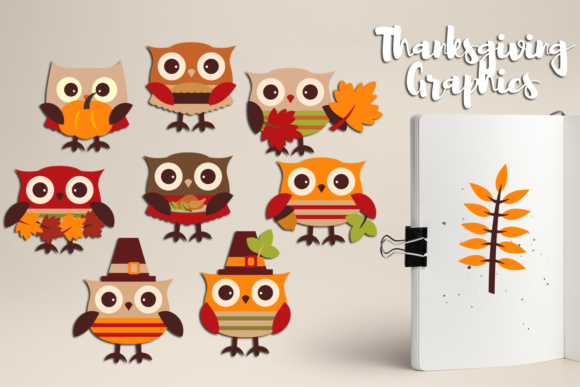 Print on Demand: Cute Owl Thanksgiving, Autumn Fall Season Graphic Illustrations By Revidevi