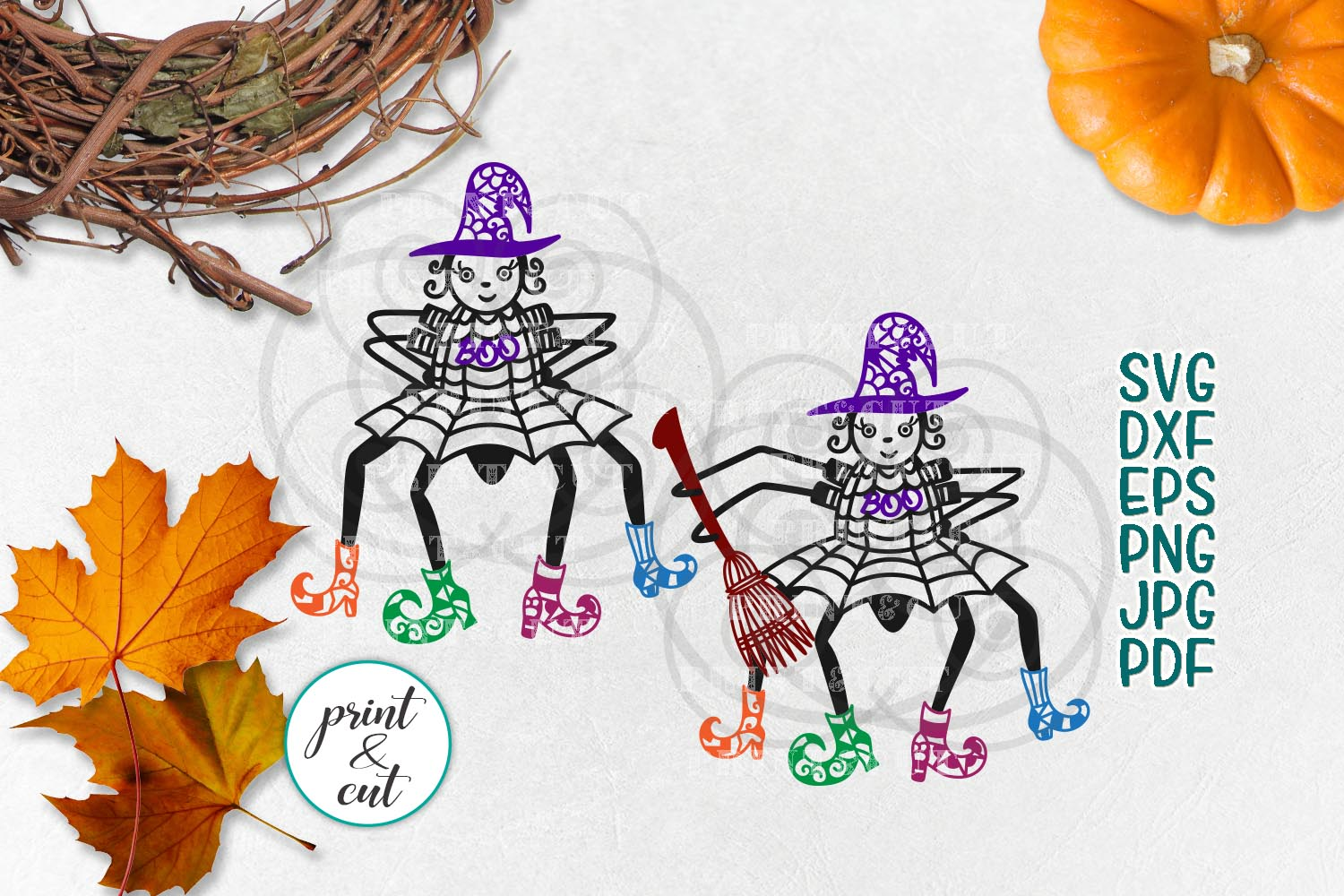 Download Free Cute Spider Witch Svg Graphic By Cornelia Creative Fabrica for Cricut Explore, Silhouette and other cutting machines.