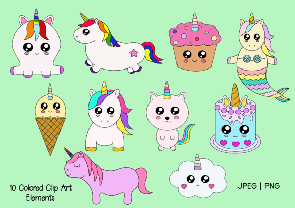 Print on Demand: Cute Unicorn Digi Stamps and Clip Art Graphic Illustrations By Janet's Cute Designs - Image 2