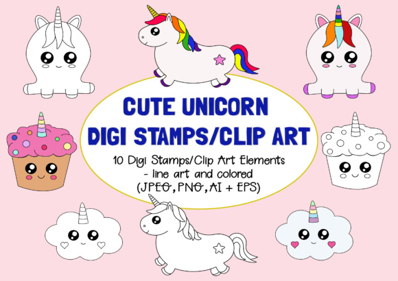 Cute Unicorn Digi Stamps and Clip Art Graphic By Janet's Art Corner