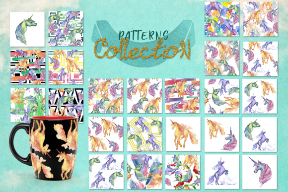 Print on Demand: Cute Watercolor Unicorn Horses Graphic Illustrations By MyStocks - Image 2