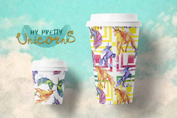 Print on Demand: Cute Watercolor Unicorn Horses Graphic Illustrations By MyStocks - Image 3
