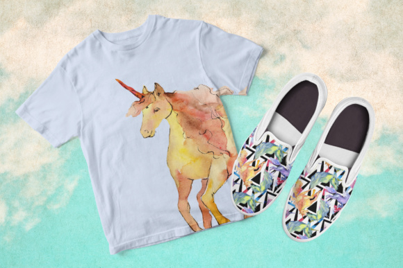 Print on Demand: Cute Watercolor Unicorn Horses Graphic Illustrations By MyStocks - Image 5