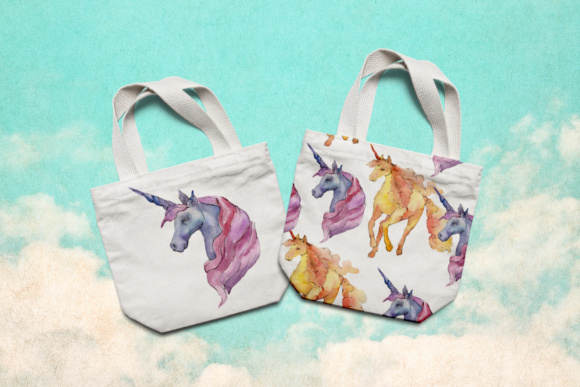 Print on Demand: Cute Watercolor Unicorn Horses Graphic Illustrations By MyStocks - Image 6