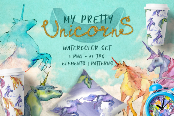 Print on Demand: Cute Watercolor Unicorn Horses Graphic Illustrations By MyStocks - Image 1