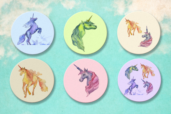 Print on Demand: Cute Watercolor Unicorn Horses Graphic Illustrations By MyStocks - Image 7