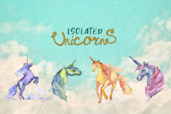 Print on Demand: Cute Watercolor Unicorn Horses Graphic Illustrations By MyStocks - Image 8
