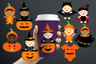 Cute Babies in Halloween Costumes Graphic By Revidevi