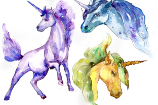 Download Free Cute Colorful Unicorn Horses Watercolor Set Graphic By Mystocks for Cricut Explore, Silhouette and other cutting machines.