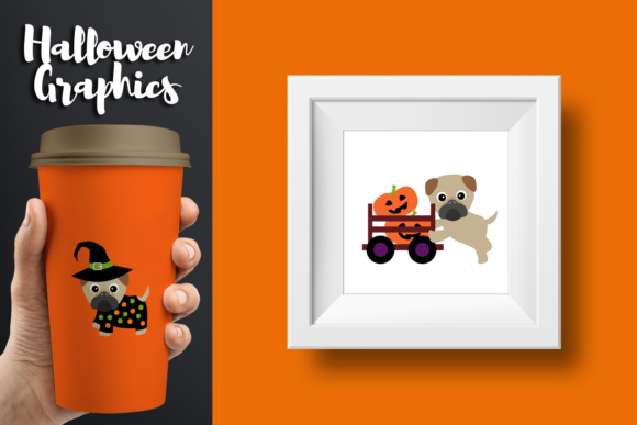 Print on Demand: Cute Pug Dogs Halloween Graphic Illustrations By Revidevi - Image 2