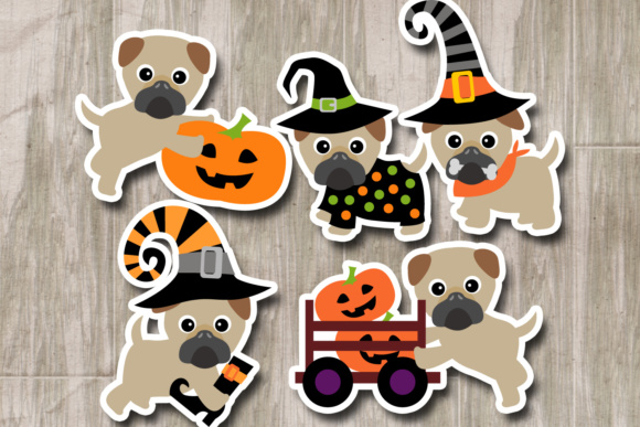 Print on Demand: Cute Pug Dogs Halloween Graphic Illustrations By Revidevi - Image 3
