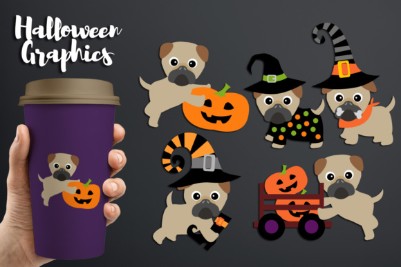 Print on Demand: Cute Pug Dogs Halloween Graphic Illustrations By Revidevi