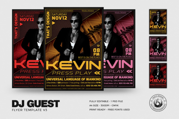 DJ Guest Flyer Template V3 Graphic Print Templates By ThatsDesignStore