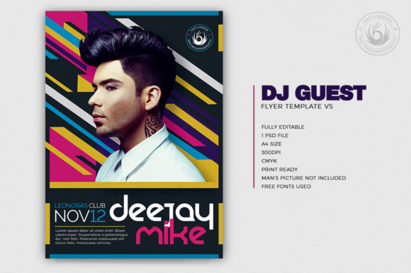 Download Free Dj Guest Flyer Template V5 Grafico Por Thatsdesignstore for Cricut Explore, Silhouette and other cutting machines.