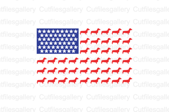 Download Free Dachshund Dog American Flag Cut Files Graphic By Cutfilesgallery for Cricut Explore, Silhouette and other cutting machines.