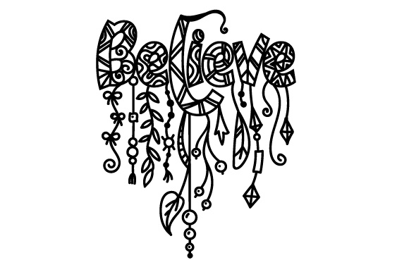 Download Free Dangle Design Believe Svg Cut File By Creative Fabrica Crafts for Cricut Explore, Silhouette and other cutting machines.