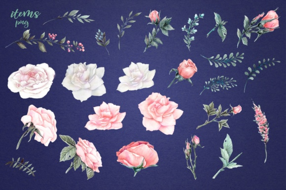 Print on Demand: Delicate Roses – Watercolor Clip Art Graphic Illustrations By nicjulia - Image 11