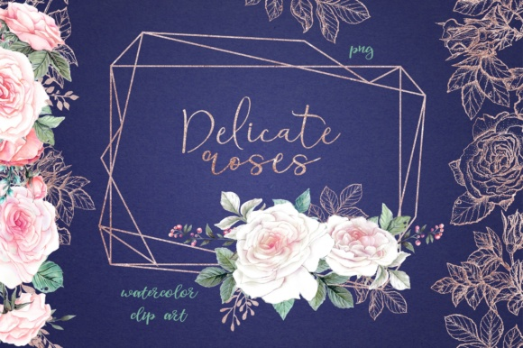 Print on Demand: Delicate Roses – Watercolor Clip Art Graphic Illustrations By nicjulia