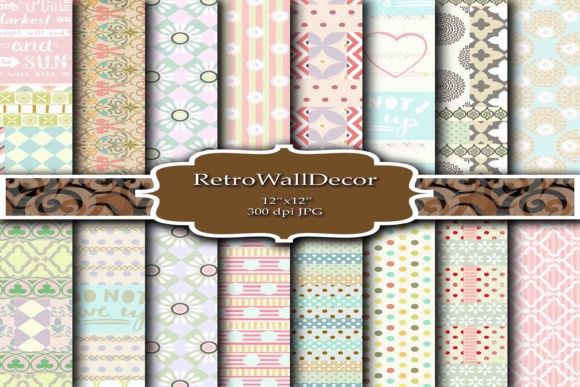 Print on Demand: Digital Decoupage Papers Graphic Backgrounds By retrowalldecor