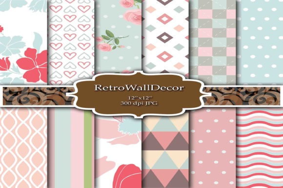 Download Free Digital Scrapbook Papers Graphic By Retrowalldecor Creative for Cricut Explore, Silhouette and other cutting machines.