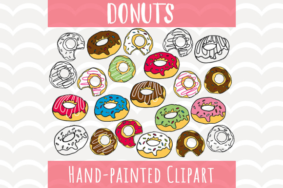 Download Free Donuts Sprinkle Clip Art Set Graphic By Vector City Skyline for Cricut Explore, Silhouette and other cutting machines.