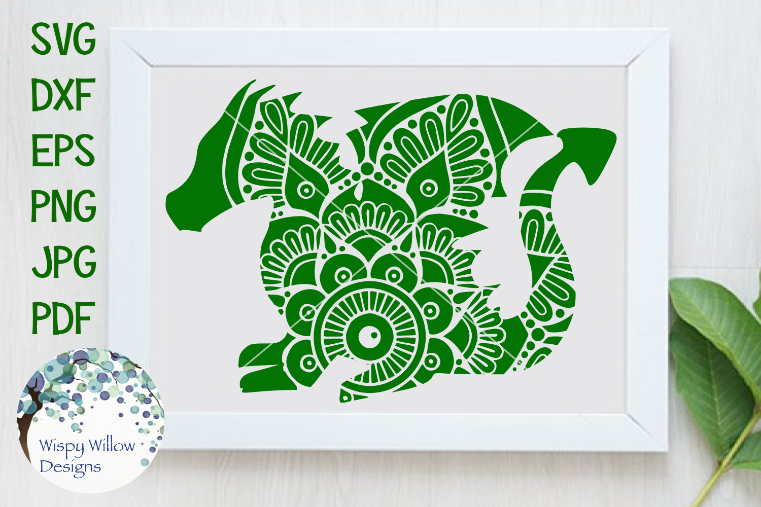 Download Free Dragon Mandala Animal Graphic By Wispywillowdesigns Creative for Cricut Explore, Silhouette and other cutting machines.