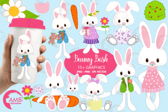 Download Free Easter Bunnies Clipart Graphic By Ambillustrations Creative for Cricut Explore, Silhouette and other cutting machines.