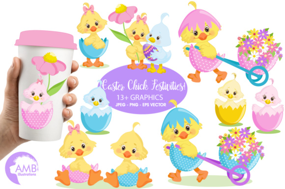 Easter Chick Clipart Graphic Illustrations By AMBillustrations