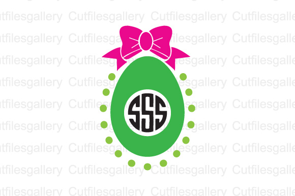 Easter Eggs Bow Monogram Svg Dxf Png Cut File Graphic By