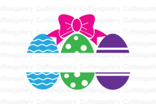 Download Free Easter Eggs Bow Split Cut File Graphic By Cutfilesgallery for Cricut Explore, Silhouette and other cutting machines.