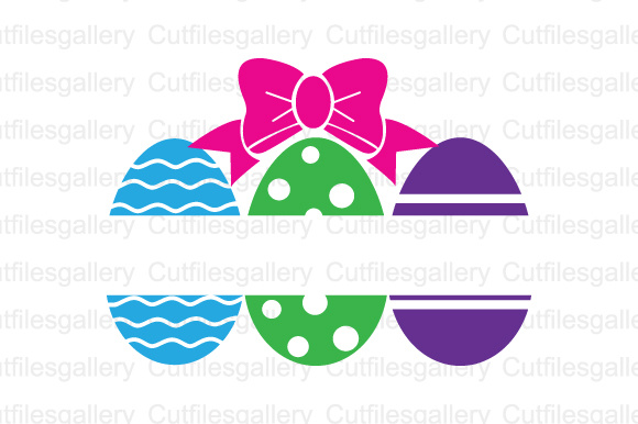Easter Eggs Bow Split Cut File Graphic Crafts By cutfilesgallery