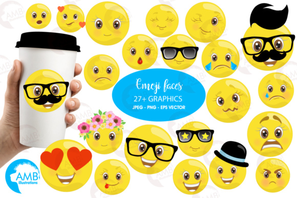 Download Free Emoji Faces Clipart Graphic By Ambillustrations Creative Fabrica for Cricut Explore, Silhouette and other cutting machines.