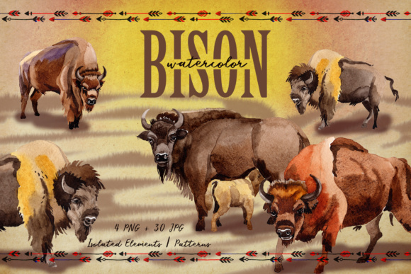 Print on Demand: Exotic Bison Wild Animal PNG Watercolor Set Graphic Illustrations By MyStocks