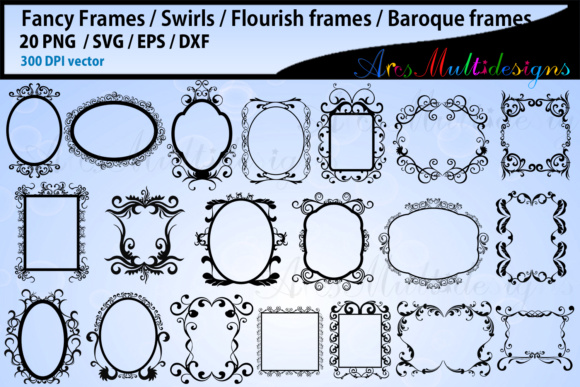 Print on Demand: Fancy Frames SVG Bundle Grafik Designvorlagen von Arcs Multidesigns