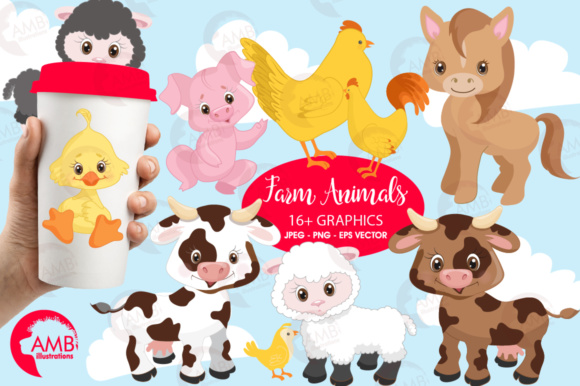 Farm Animals Clipart Graphic Illustrations By AMBillustrations