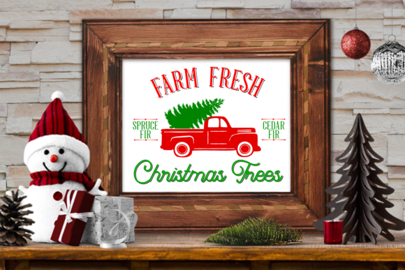 Print on Demand: Farm Fresh Christmas Trees Truck SVG Cutting Files Graphic Crafts By Ten Times Studio