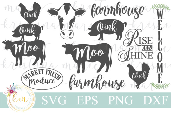 Download Free Farmhouse Cut File Bundle Graphic By Kristina Marie Design for Cricut Explore, Silhouette and other cutting machines.