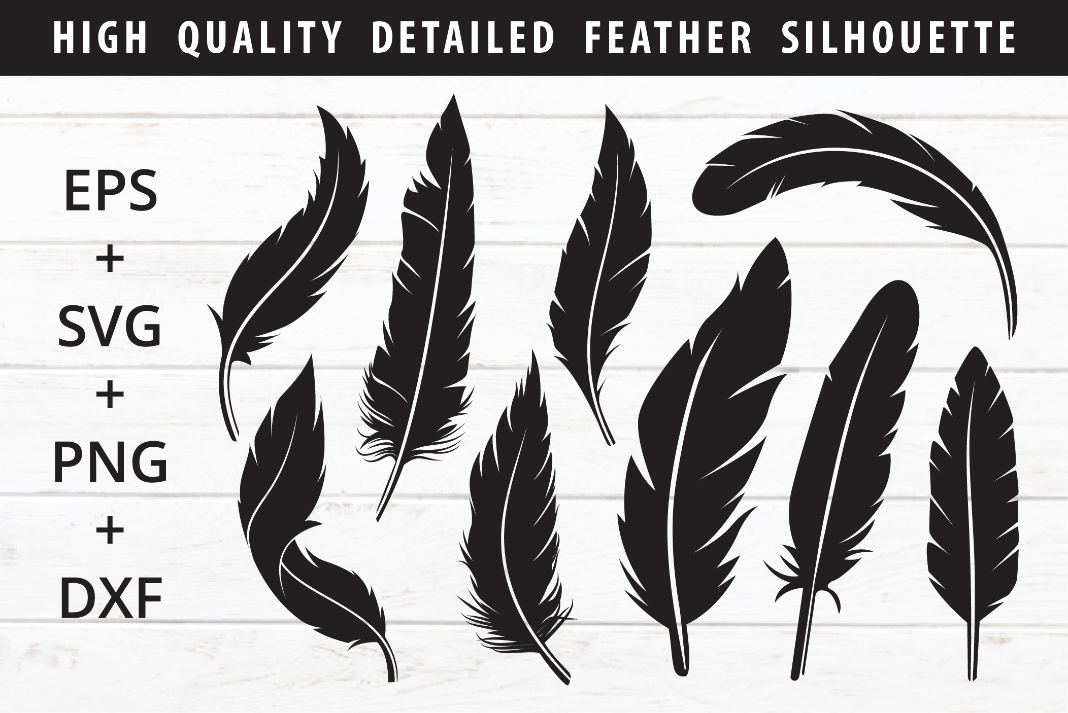 Download Free Feather Silhouette Pack Graphic By Great19 Creative Fabrica for Cricut Explore, Silhouette and other cutting machines.