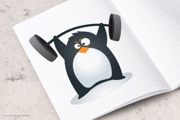 Fit Penguin - Weighlifting Grafik Illustrationen von holejohn