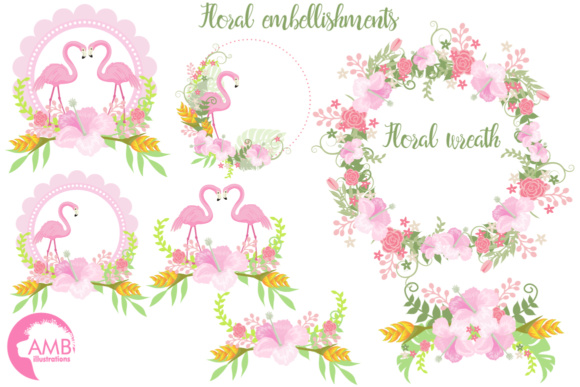Flamingo Floral Cliparts Graphic Illustrations By AMBillustrations