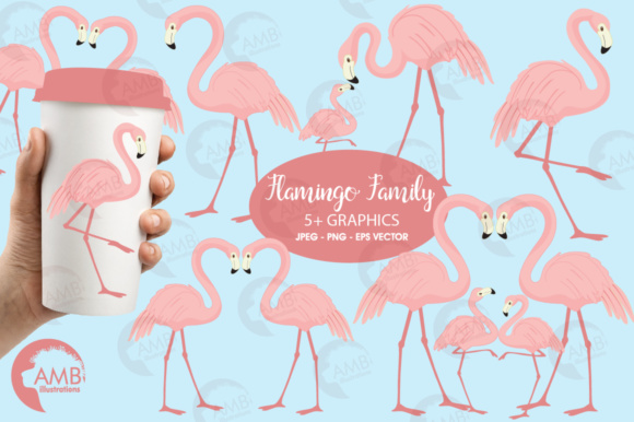 Flamingos Clipart Graphic Illustrations By AMBillustrations