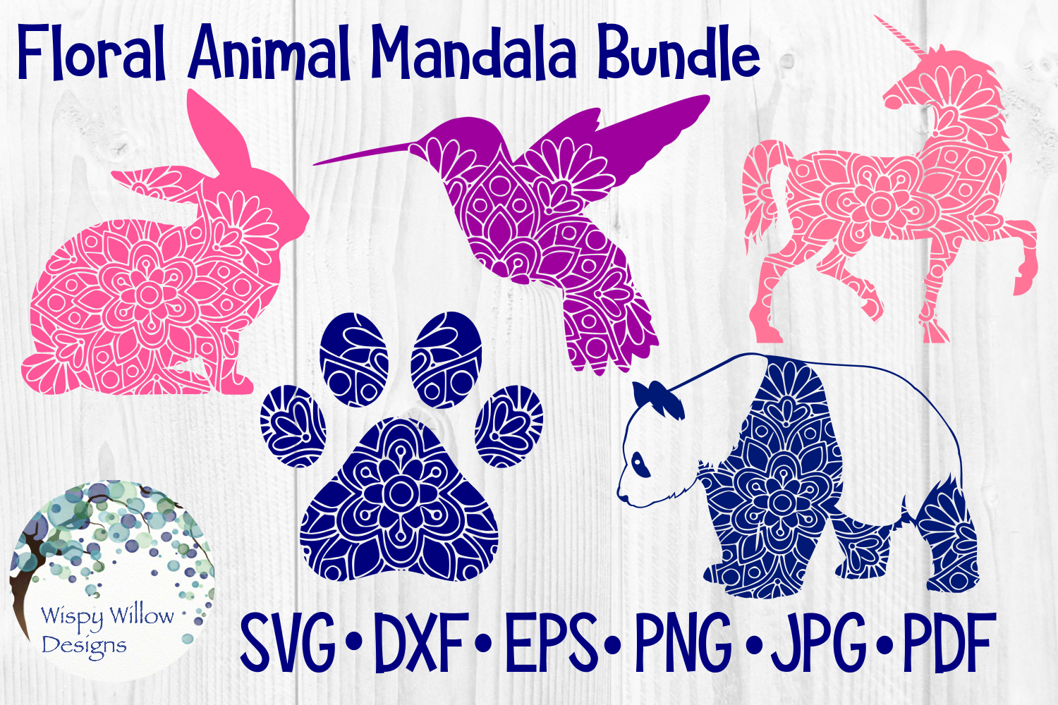 Download Free Floral Animal Mandala Bundle Rabbit Grafico Por Wispywillowdesigns Creative Fabrica for Cricut Explore, Silhouette and other cutting machines.